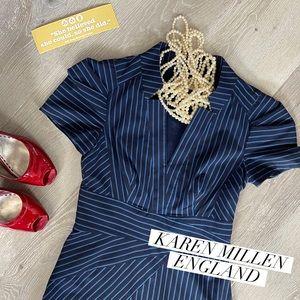 KAREN MILLEN ENGLAD Black/Blue Pencil Dress size4